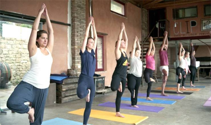 Hatha yoga class in Umbria Italy